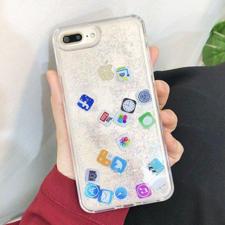 Liquid Glitter Case for iPhone 7 8 plus, Hard Back Colorful Bling Quicksand with iOS icon APP Shine Phone Case for iPhone X XR XS Max (Silver