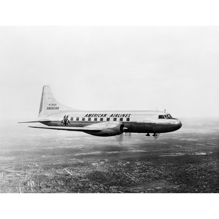 1940S 1950S American Airlines Convair Flagship Propeller Aircraft In Flight Rolled Canvas Art   Vintage Images