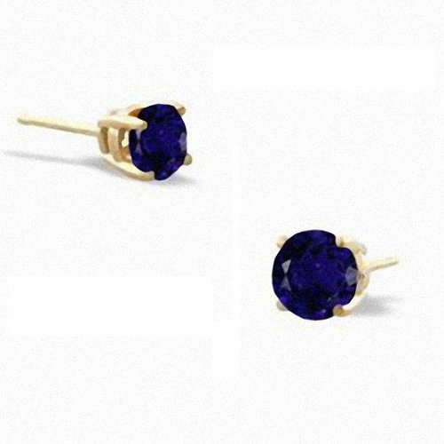 CZ Collections Sapphire cubic zirconia Diamond Vermeil Stud Earrings