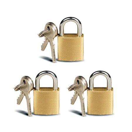 Mini Lock (3 Small Metal Padlocks Mini Brass Tiny Box Locks Keyed Jewelry 2 Keys 20mm Safe)
