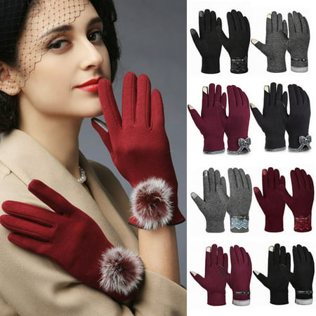 Womens Winter Gloves-Fitbest Womens Winter Warm Gloves Bowknot Thick Fleece Lining Warm Mittens Outdoor Touch Screen