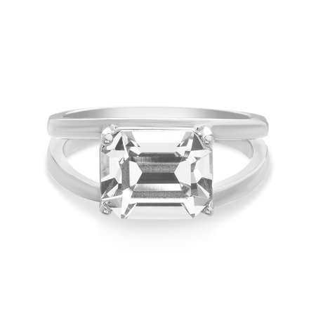 de4a9471ea195f Lesa Michele - Faceted Crystal Womens White Split Shank Emerald Shape  Engagement Ring in Sterling Silver made with Swarovski Crystals -  Walmart.com