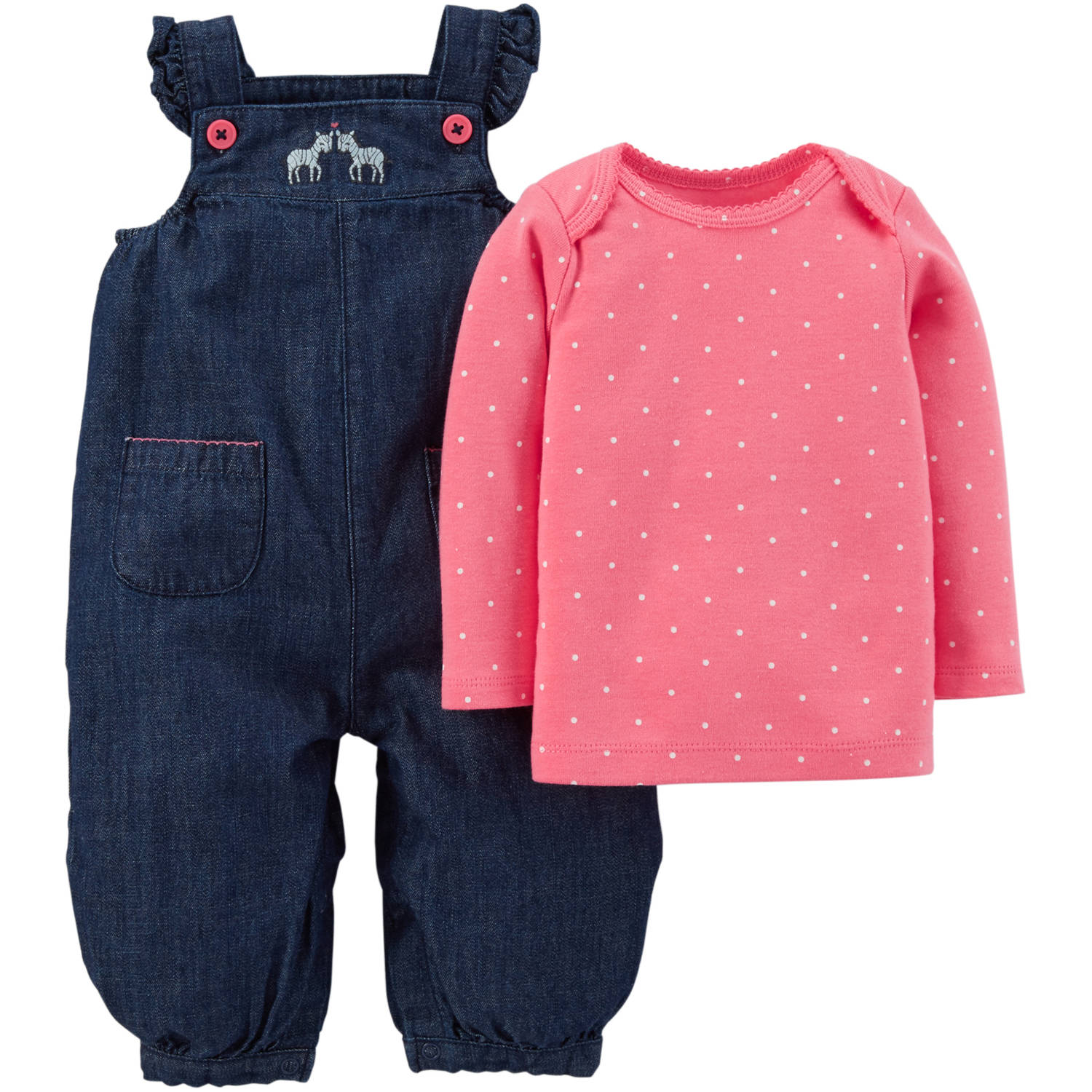 Child Of Mine by Carter's Newborn Baby Overalls and Tshirt Outfit Set