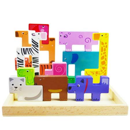 Tangram Block (Wooden Jigsaw Puzzle Tangram Board Cartoon Animal Tetris Sliding Blocks Game Early Educational Develoment Toys Gifts for KidsBoy Girls)