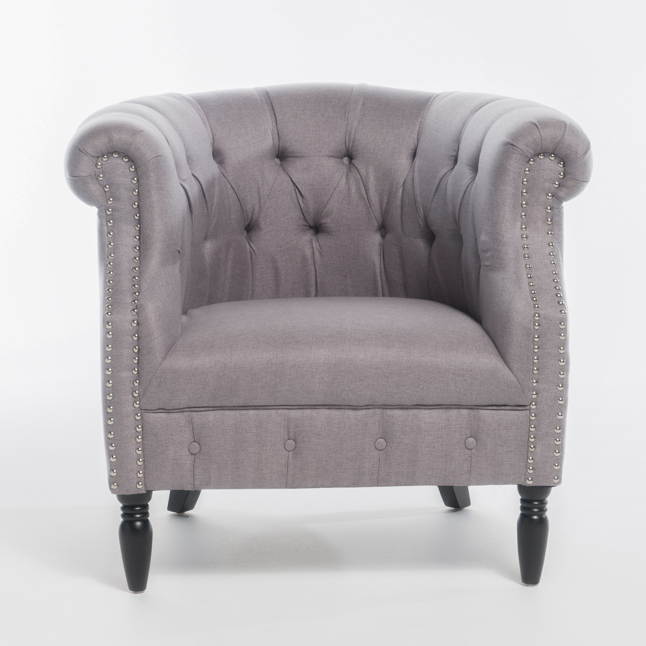 Monty Fabric Club Chair, Light Grey