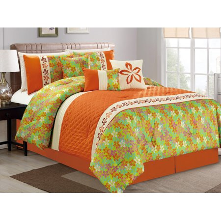 11-Pc Quilted Diamond Floral Embroidery Pleated Flock ...
