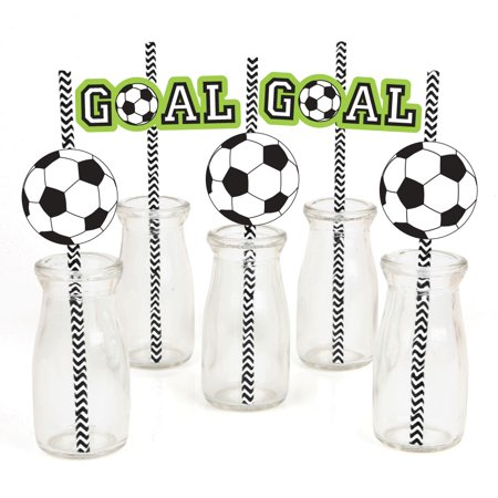 GOAAAL! - Soccer - Paper Straw Decor - Baby Shower or Birthday Party Striped Decorative Straws - Set of 24 (Soccer Party Decor)