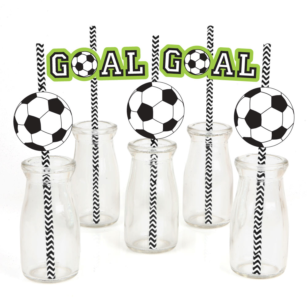 GOAAAL! - Soccer - Paper Straw Decor - Baby Shower or Birthday Party Striped Decorative Straws - Set of 24