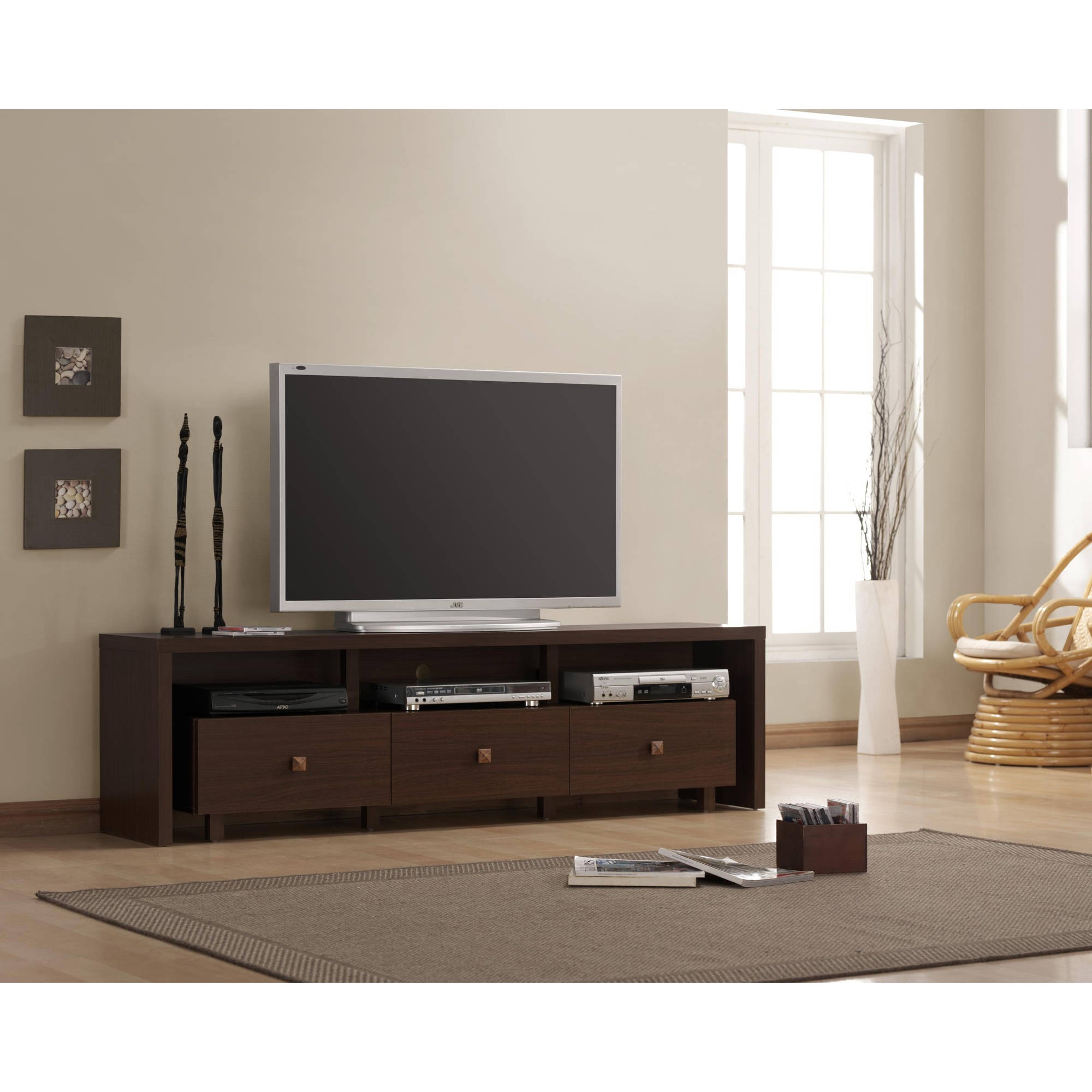Techni Mobili Palma 3 Drawer TV Cabinet, Multiple finishes for TVs up to 70""