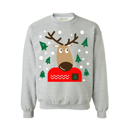 Awkward Styles Christmas Reindeer Sweatshirt Reindeer Ugly Christmas Sweater Funny Xmas Outfit Christmas Party Gifts Christmas Reindeer Ugly Sweatshirt Holiday Sweater for Women and Men Xmas - Mens Erotic Outfits