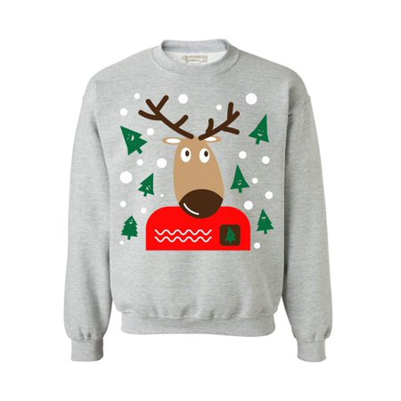 Awkward Styles Christmas Reindeer Sweatshirt Reindeer Ugly Christmas Sweater Funny Xmas Outfit Christmas Party Gifts Christmas Reindeer Ugly Sweatshirt Holiday Sweater for Women and Men Xmas - Holiday Outfits Womens