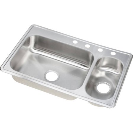 Elkay DEMR23322R4 Dayton Stainless Steel Double Bowl Top Mount Sink with 4 Faucet Holes, Satin