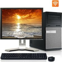 "Dell Desktop PC Tower System Windows 10 Intel Core i3 Processor 4GB Ram 160GB Hard Drive DVD Wifi with a 17"" LCD-Refurbished Computer"