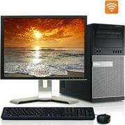 "Dell Desktop PC Tower System Windows 10 Intel Core i3 Processor 4GB Ram 160GB Hard Drive DVD Wifi with a 17"" LCD-Refurbished Computer"