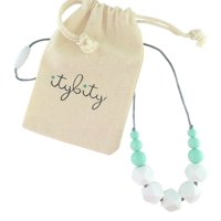 Baby Teething Necklace for Mom, Silicone Teething Necklace, BPA Free (White/Mint)