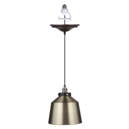Instant Pendant Recessed Light Conversion Kit Brushed Bronze and Brushed Brass Metal Dome Shade (Over Brass Metal Shade)