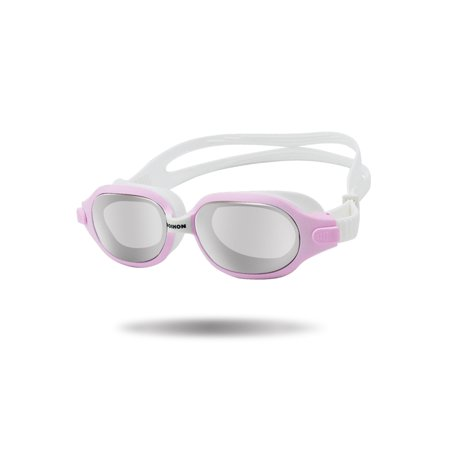 Swimming Goggle Men Women Mirror Swim Glasses For Adults, Adjustable Latex Free Split Strap Anti-Fog UV Protection Waterproof Eye Protect With Storage Case Pink