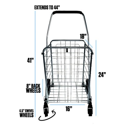 Voyager Tools Portable Lightweight Shopping Cart Collapsible Grey