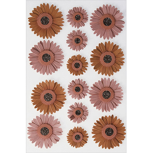 Martha Stewart Crafts Pink Dimensional Gerbera Daisy Stickers Dimensional Stickers