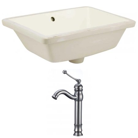 18.25 in. Undermount Bath Ceramic Sink Set in Biscuit ()