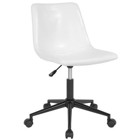 Home and Office Armless Task Chair with Double Line Stitch Detail in White Leather