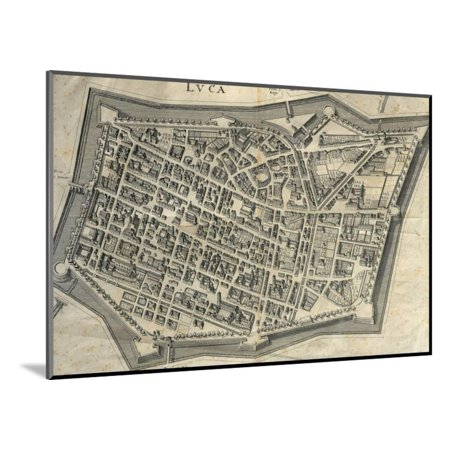 - Italy, Tuscany, Lucca, Map of Lucca, Cartography Wood Mounted Print Wall Art