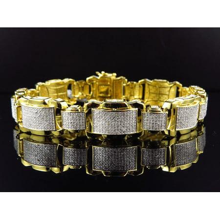 Brushed Mens Link Bracelet - Men' Yellow Gold Finished Dome Bar Link Diamond 9 Inch Bracelet (2.0ct.)