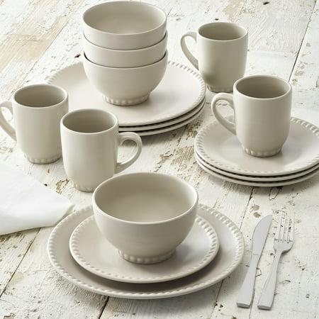 Better Homes & Gardens Beaded Dinnerware, Clay, Stoneware, Set of