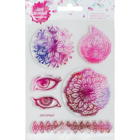 "Jane Davenport Mixed Media 2 Acrylic Stamps 4.5""x7""-6/Pkg"