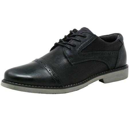 Double Diamond by Alpine Swiss Men's Genuine Leather Cap Toe Oxford Dress Shoes