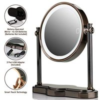 Ovente LED Lighted Cosmetic Mirror, SmartTouch 3-Tone Lighting (Daylight, Cool, Warm) Vanity Mirror, Battery or USB Adapter Operated, 1x/10x Magnification, 8 inch, Antique Brass (MHT80AB1X10X)