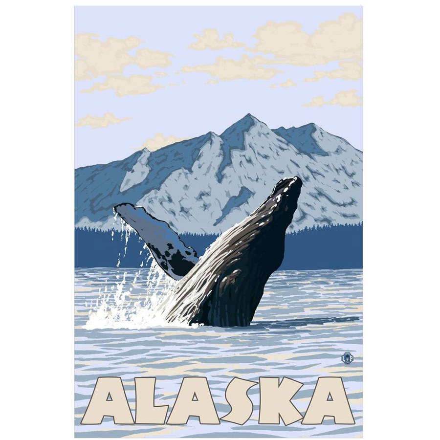 Alaska - Humpback Whale: Retro Travel Poster by Eazl Cling