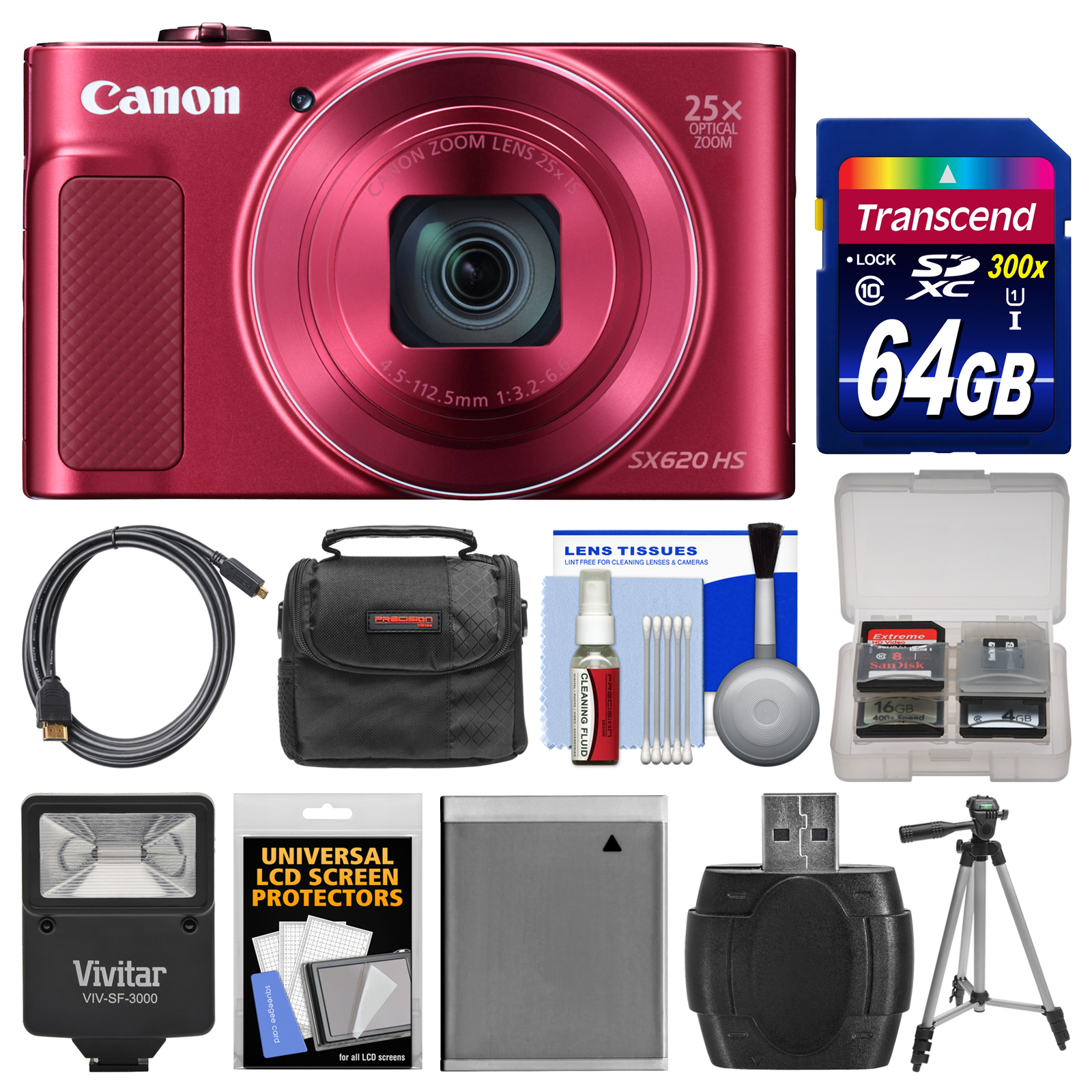 Canon PowerShot SX620 HS Wi-Fi Digital Camera (Silver) with 64GB Card + Case + Flash + Battery + Tripod + HDMI Cable + Kit