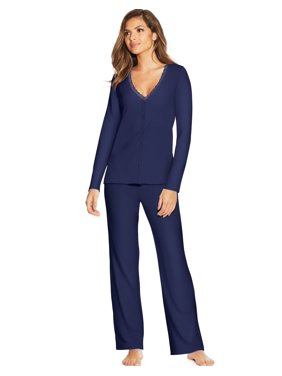 Maidenform Womens Lace Trim PJ Set, S, Maritime Blue