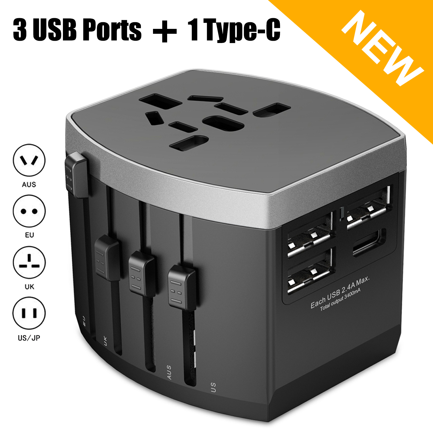 NERDI Travel Adapter, All-in-one Universal Power Adapter with 1 AC Outlet + 1 Type-C Port + 3 USB Ports, International Adapter for US / UK / Europe / AUS Over 150 Countries Worldwide