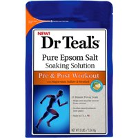 (2 pack) Dr Teal's Pure Epsom Salt Soaking Solution, Pre & Post Workout with Magnesium Sulfate & Menthol, 3 lb