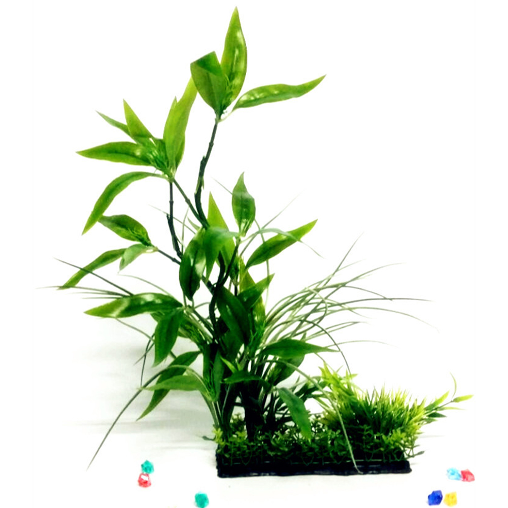 Heepo Fake Aquarium Plant Water Tree Grass Ornament Fish Tank Plastic Decor Green