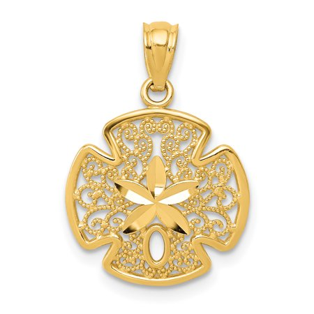 14k Yellow Gold Filigree Sand Dollar Sea Star Starfish Pendant Charm Necklace Shore Shell