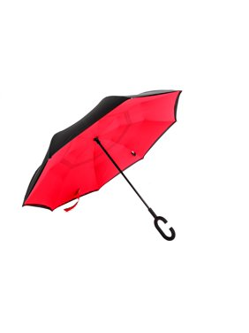 Reverse Umbrella - Automatic Open Red/Black C Handle - Windproof
