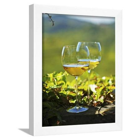 - Two Glasses of White Wine Against the Friaul Landscape of Italy Framed Print Wall Art By Herbert Lehmann