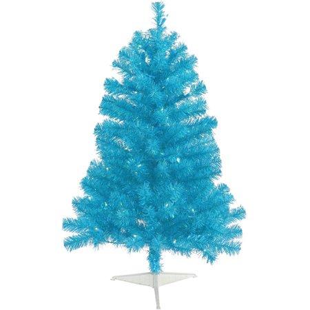 Blue Artificial Christmas Tree - Vickerman 3' Sky Blue Artificial Christmas Tree with 50 Teal Lights