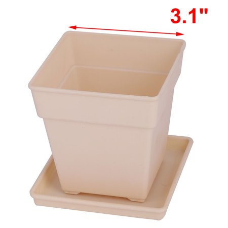 Desktop Decor Plastic Square Flower Grass Plant Pot Tray Holder Container Beige - image 1 of 4