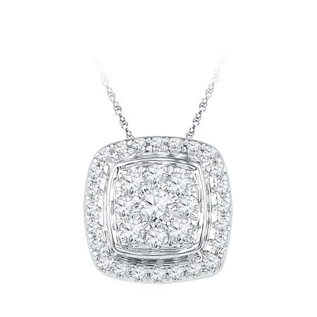 - 10kt White Gold Womens Round Diamond Square Cluster Fashion Pendant 1/2 Cttw