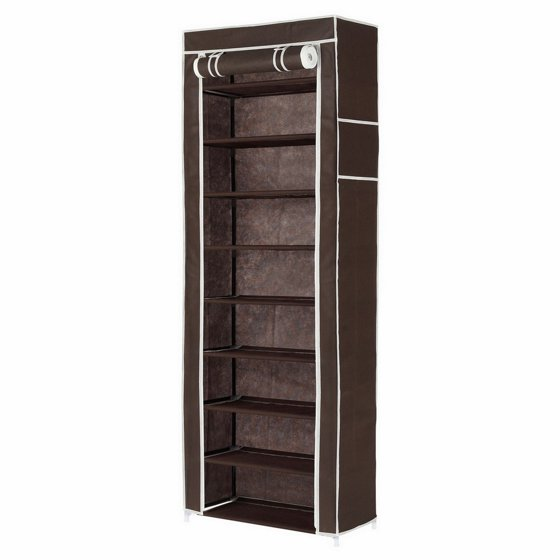 homegear large free standing fabric shoe rack storage cabinet closet brown. Black Bedroom Furniture Sets. Home Design Ideas