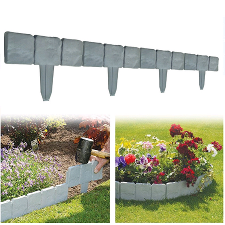 10 PCS Spring Yard Lawn Garden Plastic Faux Stone Patio,10 PCS Spring Yard Lawn Garden Plastic Faux Stone Patio Border Edging Fence US