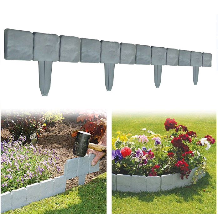 VBESTLIFE 10 PCS Spring Yard Lawn Garden Plastic Faux Stone Patio Border Edging Fence US
