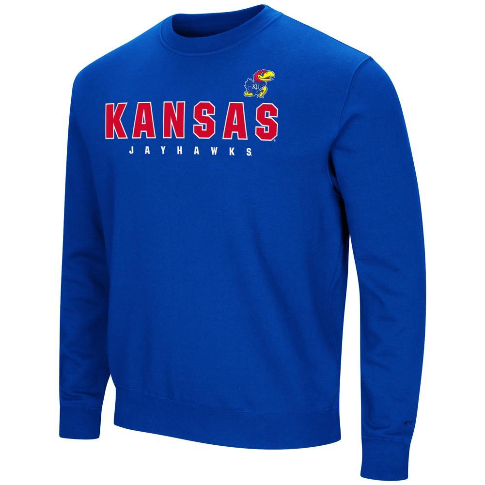 Kansas Jayhawks KU Sweatshirt Playbook Crew Neck Fleece