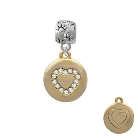 Gold Tone Disc with Crystal Heart - Paw Print Charm Bead Gold Toned Beads