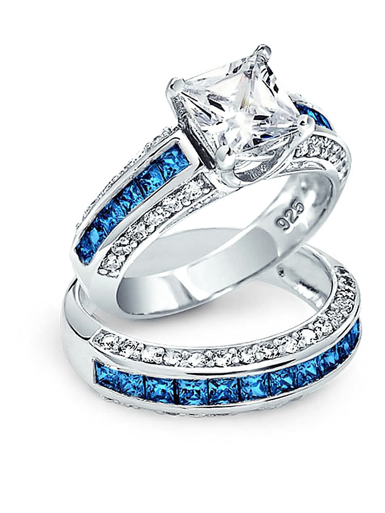Princess Kylie Blue and Clear Cubic Zirconia Rotating Stone Ring Sterling Silver