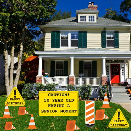 50th Birthday Yard Decoration - Caution 50 Year Old Having ...